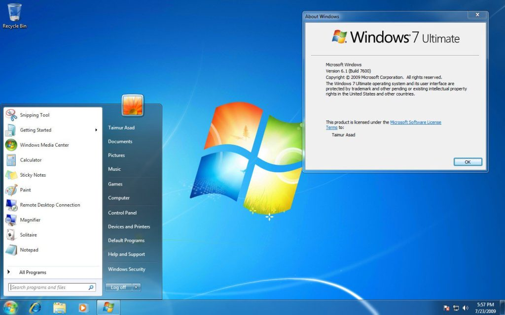 Windows 7 ultimate bureau desktop