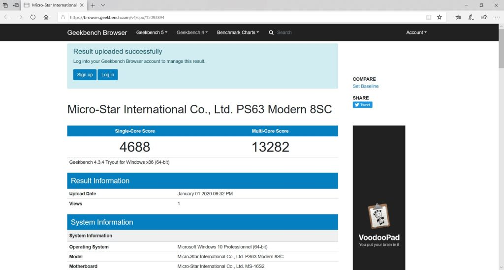 msi ps63 geekbench test