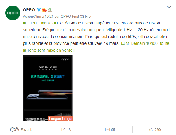 Annonce Oppo sur Weibo